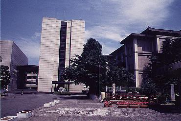 Inside Komazawa University. The building to the right contains the Zendo.