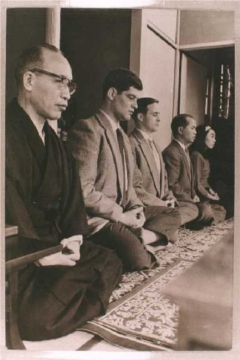 Prof. Masunaga sits Zazen with Danny Waxman and other students
